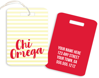 Chi Omega Personalized Striped Luggage Tag