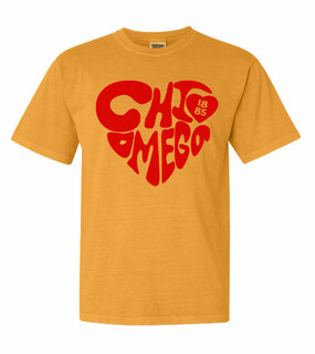 Chi Omega Piece of My Heart Sorority Comfort Colors T-Shirt