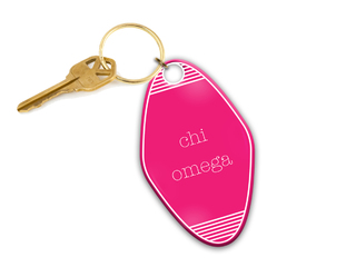 Chi Omega Pink Motel Keychain