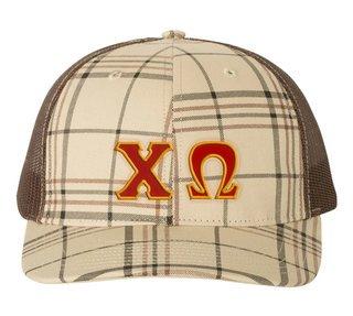 Chi Omega Plaid Snapback Trucker Hat