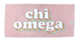 Chi Omega Plush Retro Beach Towel