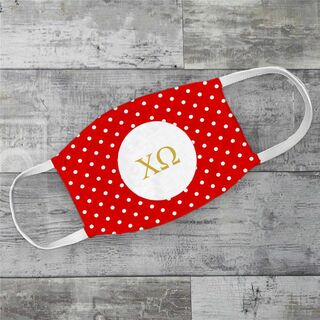Chi Omega Polka Dots Face Mask