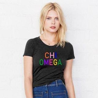 Chi Omega Rainbow Triblend Short Sleeve Tee