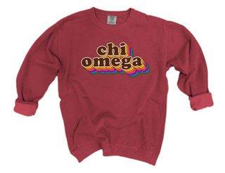 Chi Omega Retro Maya Comfort Colors Crewneck Sweatshirt
