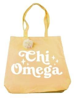 Chi Omega Retro Pom Pom Tote Bag