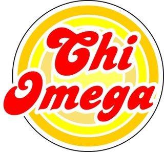 Chi Omega Retro Round Decals