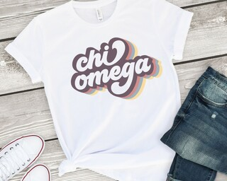 Chi Omega Retro Script Tee