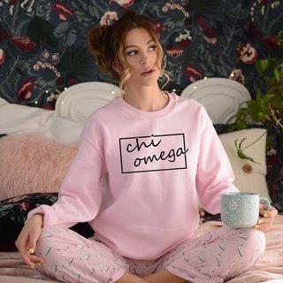 Chi Omega Script Box Crewneck Sweatshirt