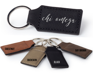 Chi Omega Script Faux Leather Keychain