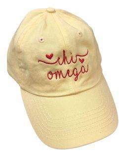 Chi Omega Script Hearts Ball Cap