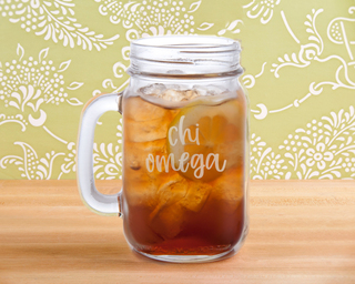 Chi Omega Script Mason Jar Mug