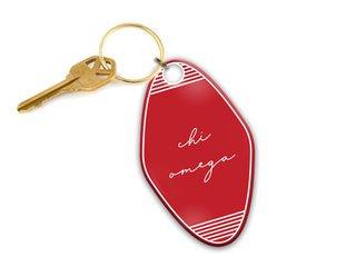 Chi Omega Script Motel Keychain