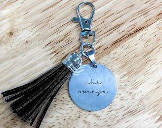 Chi Omega Script Tassel Keychain
