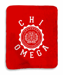 Chi Omega Seal Sherpa Lap Blanket