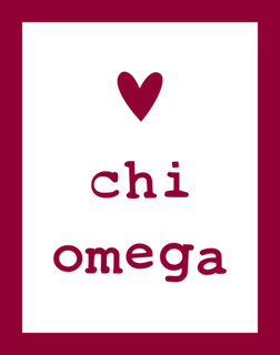 Chi Omega Simple Heart Sticker