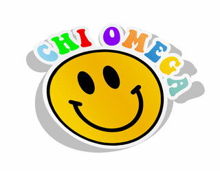 Chi Omega Smiley Face Decal Sticker