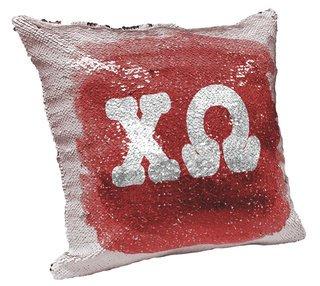 Chi Omega Sorority Flip Sequin Throw Pillow Cover
