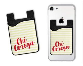 Chi Omega Sorority Stripes Caddy Phone Wallet