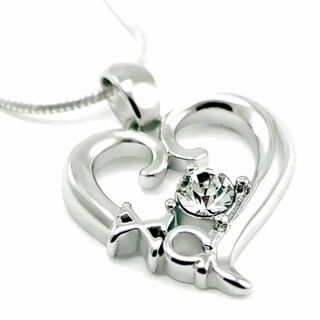 Chi Omega Sterling Silver Heart Pendant with Swarovski Clear Crystal