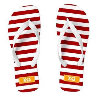 Chi Omega Striped Flip Flops