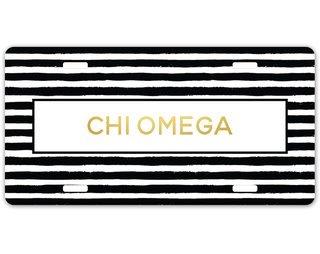 Chi Omega Striped Gold License Plate