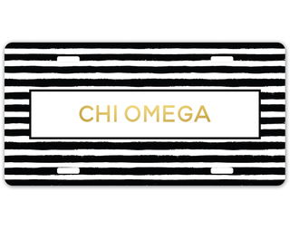 Chi Omega Striped Gold License Plate