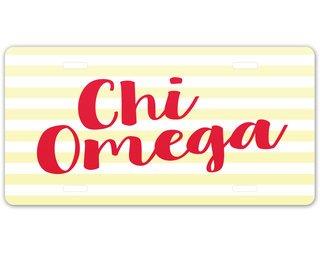 Chi Omega Striped License Plate