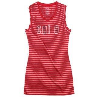 Chi Omega Striped Tee Dress