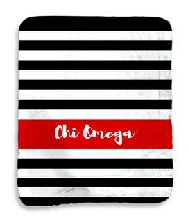 Chi Omega Stripes Sherpa Lap Blanket