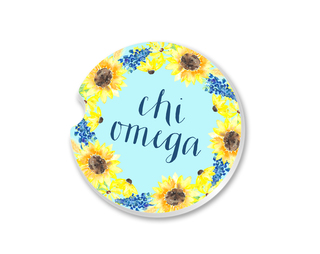 Chi Omega Sunflower Car Coaster