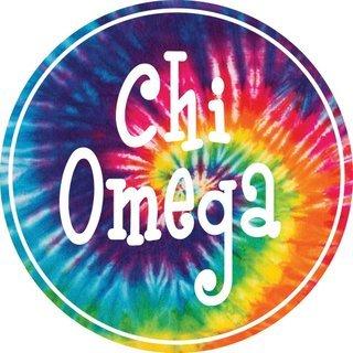Chi Omega Tie-Dye Circle Sticker