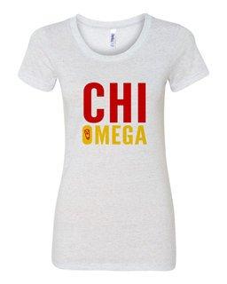 Chi Omega Triblend Name Stack Tees