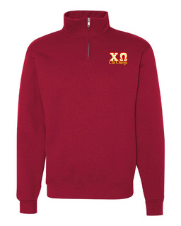 Chi Omega Twill Greek Lettered Quarter zip