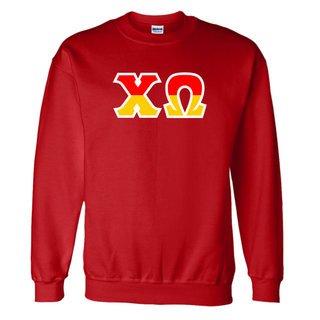 Chi Omega Two Tone Greek Lettered Crewneck Sweatshirt
