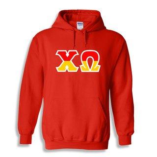 Chi Omega Two Tone Greek Lettered Hooded Sweatshirt