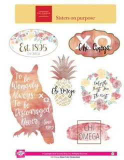 Chi Omega Water Color Stickers