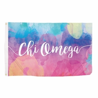 Chi Omega Watercolor Flag