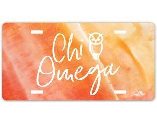 Chi Omega Watercolor Script License Plate