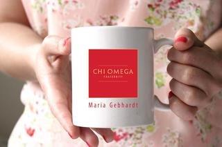 Chi Omega White Mascot Coffee Mug