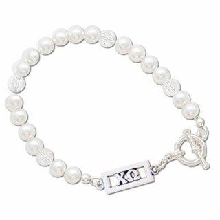 Chi Omega White Pearl & Clear Bracelet