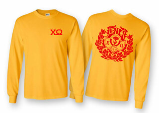 Chi Omega World Famous Crest Long Sleeve T-Shirt- MADE FAST!