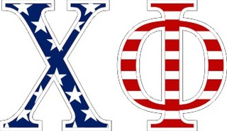 "Chi Phi American Flag Greek Letter Sticker - 2.5"" Tall"