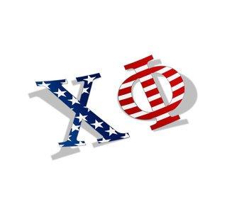 "Chi Phi American Flag Greek Letter Sticker - 2.5"" Tall"
