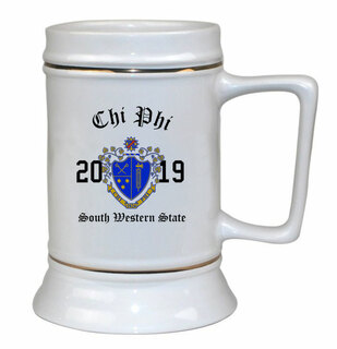 Chi Phi Ceramic Crest & Year Ceramic Stein Tankard - 28 ozs!