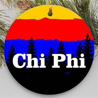 Chi Phi Christmas Mountains Round Ornaments