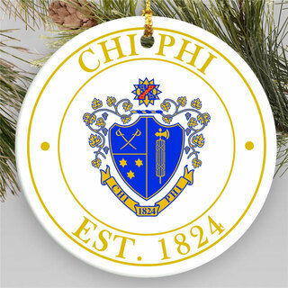 Chi Phi Circle Crest Round Ornaments