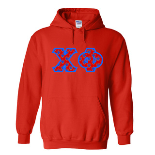Chi Phi Fraternity Crest - Shield Twill Letter Hooded Sweatshirt