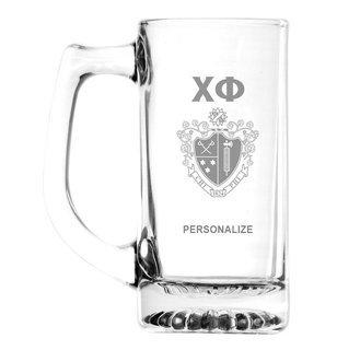 Chi Phi Glass Engraved 25 Ounce Mug