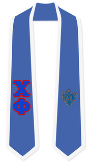 Chi Phi Greek 2 Tone Lettered Graduation Sash Stole