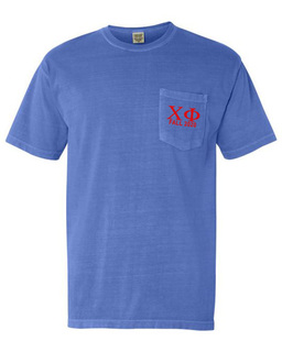 Chi Phi Greek Letter Comfort Colors Pocket Tee